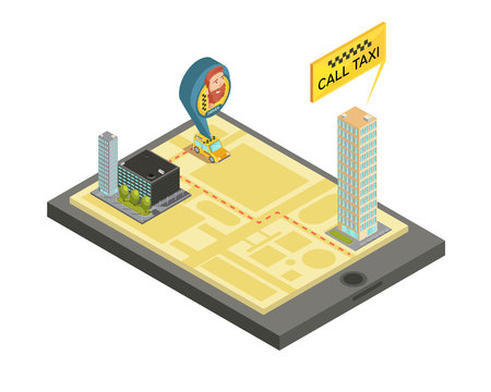 mobile apps: Taxi mobile service composition with houses city map and car driver on screen gadget isometric vector illustration Illustration