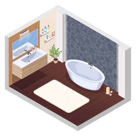 Bathroom isometric interior composition with jaccuzi spa tub wall tile mirror washstand bath mat and candles vector illustration Illustration