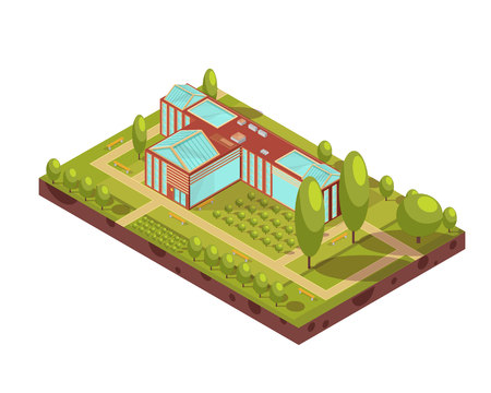 Isometric layout of university red building with glass roof green trees benches and walkways 3d vector illustration