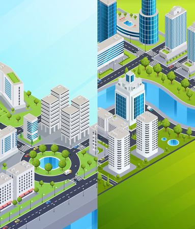 centers: City infrastructure isometric vertical banners with business skyscrapers shopping centers and residential buildings vector illustration