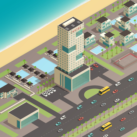 Isometric south city constructor composition with luxury hotel building and transportation elements vector illustration