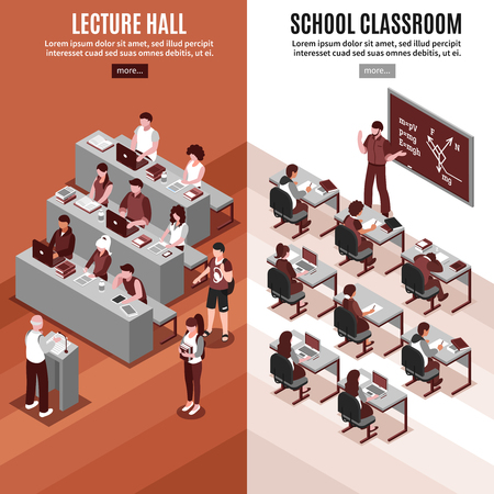 High school 2 vertical isometric banners set with lesson in classroom and lecture in hall isolated vector illustration