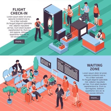 Aeroporto di volo check-in sicurezza e area d'attesa isometrico 2 banner orizzontale sito web design isolato illustrazione vettoriale