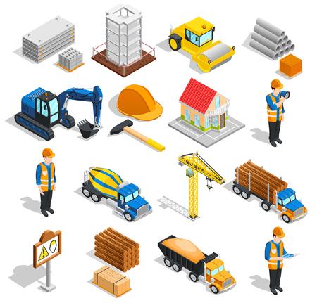 Collection d'icônes isométriques de construction d'équipement de construction isolé avec des images de machines de travailleurs et d'illustration vectorielle de fournitures de construction