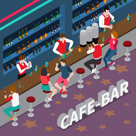 cocktail mixer: Cafe bar isometric composition with bartenders pouring drinks at bar racks and visitors vector illustration Illustration