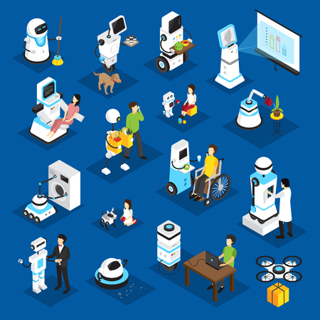 Robots isometric set with machine for business, housework, medicine, patient care on blue background isolated vector illustration Illustration