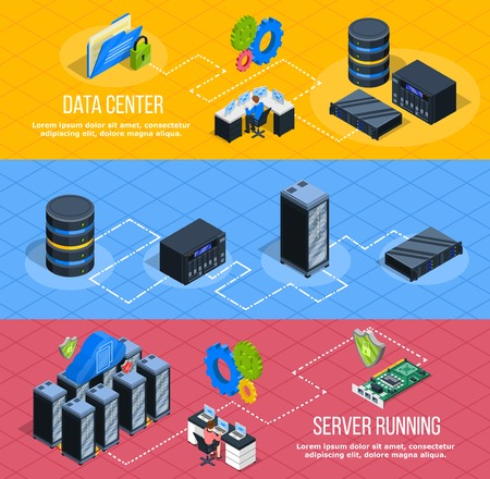 Set of three horizontal datacenter banners with isometric images of network enclosure server equipment with pictograms vector illustration