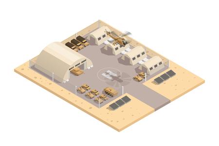 Beige Farbe militärischen isometrischen Zusammensetzung mit mit Helipad und Parkplatz bewacht Bereich Vektor-Illustration Vektorgrafik