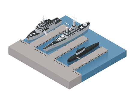Colored military boats isometric 3d composition with ships moored near the shore vector illustration Vettoriali