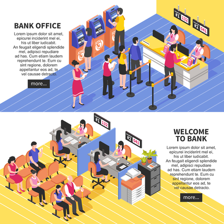 Bank office horizontal isometric banners with service of visitors, waiting area, atm, interior elements isolated vector illustration