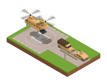 Military isometric composition with moment the large cargo helicopter landed on the base vector illustration