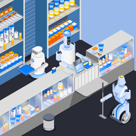 Robot isometric professions composition with smart robotic store attendants at counter of household chemical goods shop vector illustration Иллюстрация