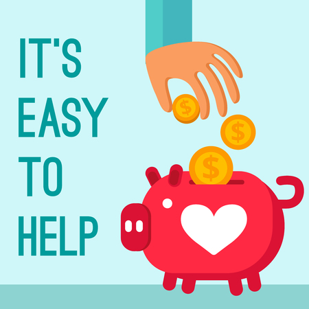 Charity donation poster in cartoon style with man hand lowering coins in piggy bank flat vector illustration Çizim