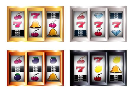 Conjunto de combinaciones en la máquina tragamonedas con jackpot, barra, frutas, campana en la ilustración de vector de línea de juego aislado