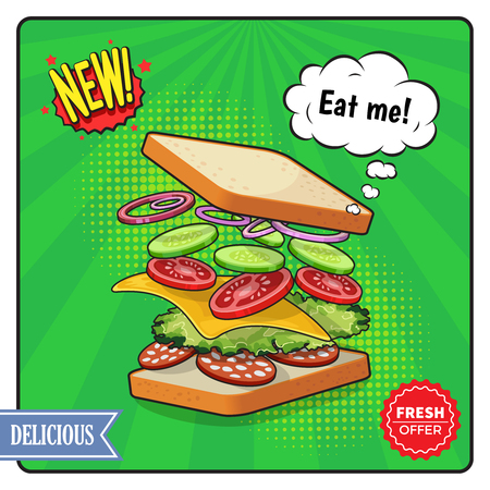 Advertising poster in comic style including sandwich with cheese salame vegetables on textured green background vector illustration Ilustração