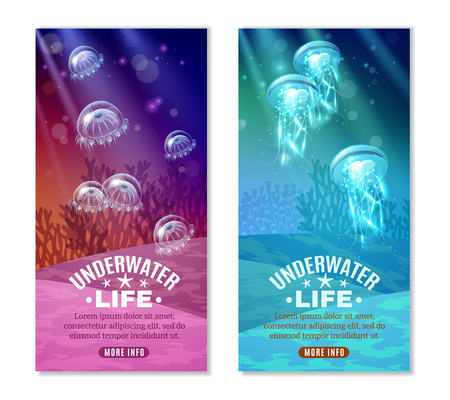 Underwater world colorful vertical banners set with transparent purple turquoise blue marine creatures isolated vector illustration