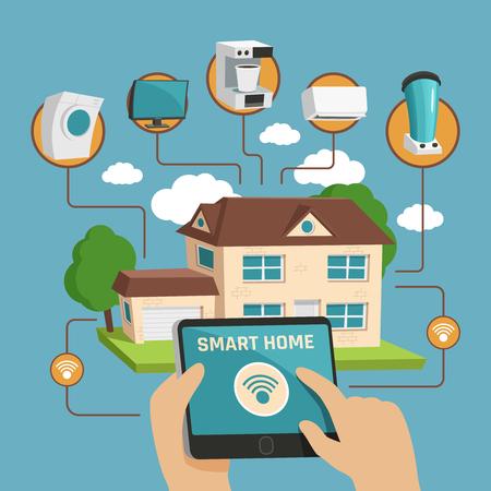 Slimme huis ontwerpconcept met particuliere woningbouw en huishoudelijke elektronische apparaten beheerd door internet platte vectorillustratie