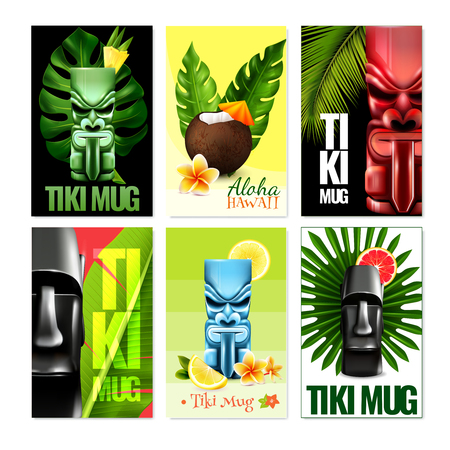 Set of vertical hawaiian cards with tiki mug, fruits, flowers, coconut cocktail, tropical plants isolated vector illustration