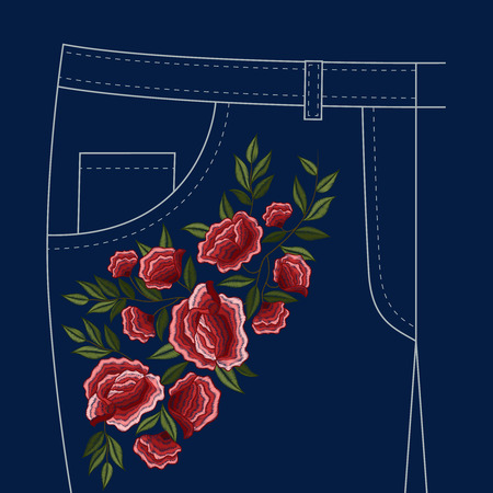 Lady jeans pants front pocket trendy decorative red roses floral folk style ornamental embroidery pattern vector illustration