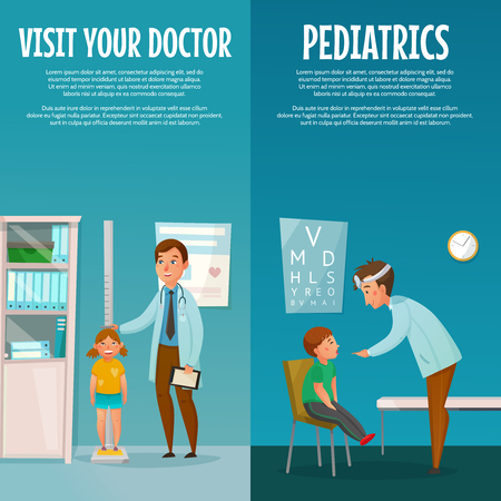 Pediatrician and kid vertical cartoon banners with measuring of height and examination of throat isolated vector illustration