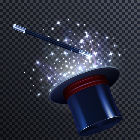 marvel: Tale composition with glittering effect magic wand and magician hat on transparent background realistic vector illustration