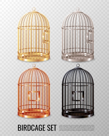 Set of empty closed canary birdcage of various color on transparent background 3d design isolated vector illustration