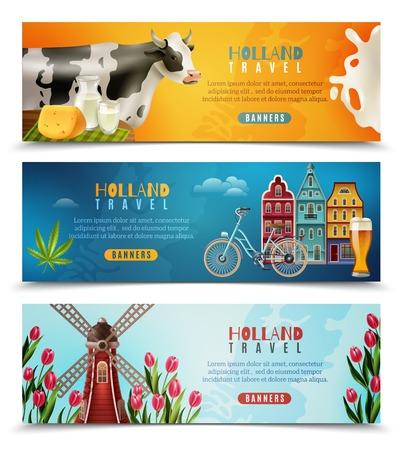 Holland cultuur voor reizigers met nederlandse huizen melk koe en windmolen met tulpen banners set geïsoleerde vector illustratie