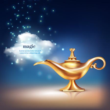Composición conceptual de la nube de la lámpara de Aladdin del recipiente de oro realista y materiales de partículas mágicas con la ilustración de vector de texto editable
