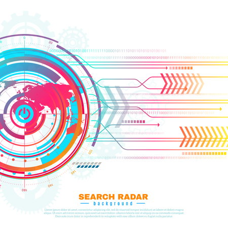 Colorful informazioni sullo schermo del radar di ricerca con mappa del mondo, griglia, ingranaggi, frecce su sfondo bianco illustrazione vettoriale Archivio Fotografico - 78918661