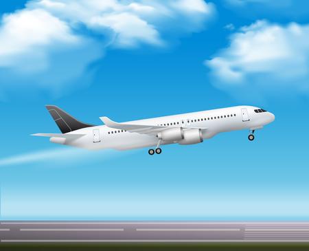 Large modern passenger airliner jet takeoff realistic air transportation services advertisement poster blue sky background vector illustration Illustration