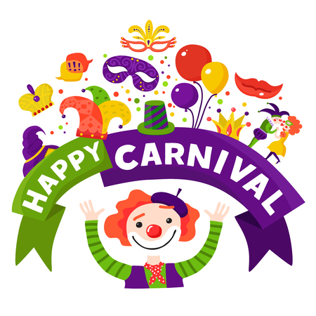 harlequin clown in disguise: Mardi gras traditional carnival celebration invitation design  with happy harlequin and festive accessories icons composition vector illustration