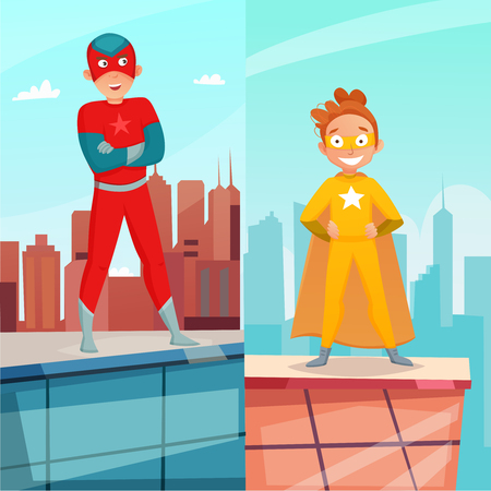 Kid superhero vertical banners with boy and girl on building roof on city background isolated vector illustration Illustration