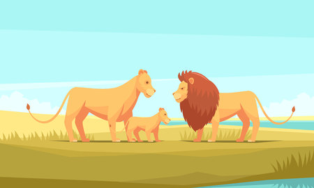 Lion farm nature background composition with doodle cartoon style great cats family and pristine wilderness scenery vector illustration