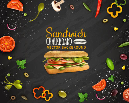 Sandwiches with ham cheese fresh paprika tomato onion champignons and olives realistic chalkboard background advertisement poster vector illustration Illustration