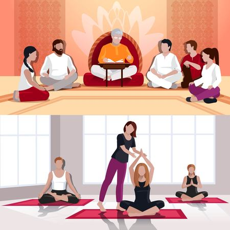 Flat compositions with people in yoga class and spiritual lesson of mentor with book isolated vector illustration