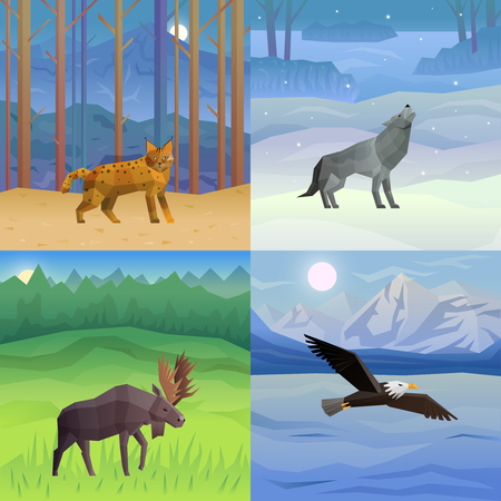 Polygonal 2x2 background with wild animals and birds in their habitat set isolated vector illustration