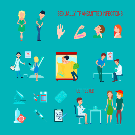 Colored flat and isolated sexual health diseases icon set with different infections symptoms and methods of treatment vector illustration Illustration