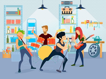 Colored flat young musicians composition four people playing guitar with band in garage vector illustration 向量圖像