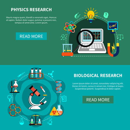 researches: Horizontal banners set with natural-science researches, chemical experiments, design concept, flat vector illustration