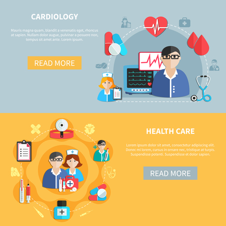 Horizontal flat banners with healthcare and cardiology round compositions on grey and yellow backgrounds isolated vector illustration Illustration