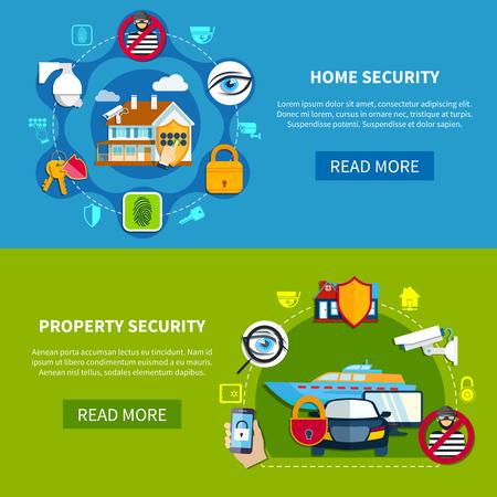 Sicherheit horizontale Banner mit Haus und Eigentum Sicherheit Symbole flach isoliert Vektor-Illustration gesetzt Standard-Bild - 79002122
