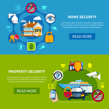 Security horizontal banners set with home and property security symbols flat isolated vector illustration
