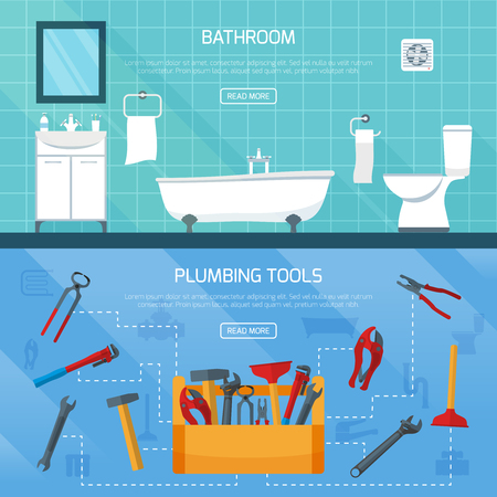 Plumbing banners set with tool box flowchart bathroom interior fitments flat images with read more button vector illustration