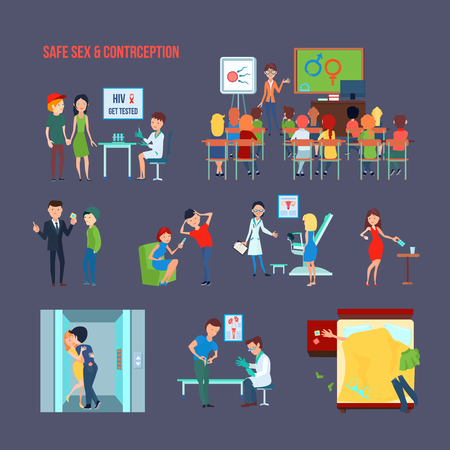 Colored flat contraception icon set with child in school and their informing and safe sex description vector illustration
