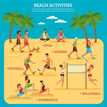 Beach activities infographics with people sport games and bodily exercises on blue background flat style vector illustration Illustration