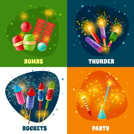 Parties and special events celebration firework concept 4 colorful icons square with rockets firecrackers bombs isolated vector illustration