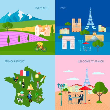 french culture: France concept icons set with Provence and Paris symbols flat isolated vector illustration