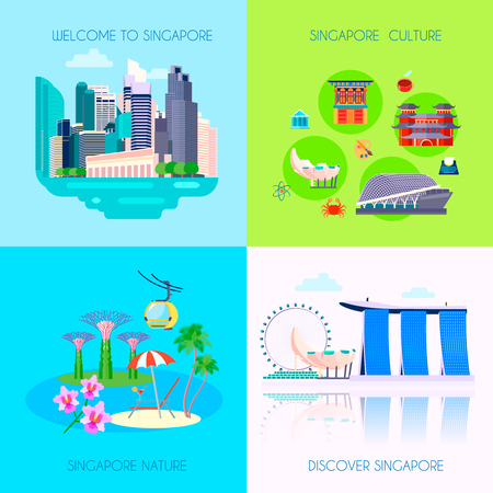 Four square flat Singapore culture icon set with welcome Singapore Singapore culture Singapore nature and discover Singapore headlines vector illustration Vectores