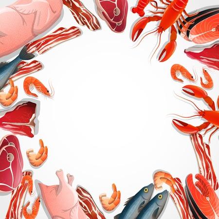 Cadre décoratif de viande et de fruits de mer, y compris les crustacés de poisson de boeuf bacon poisson sur illustration vectorielle fond blanc