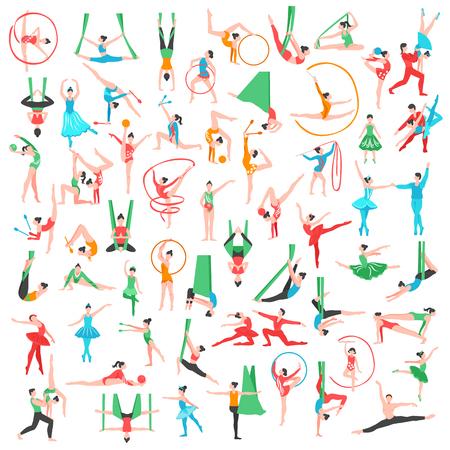 Gymnastiek en ballet grote reeks met inbegrip van dansers trapeze kunstenaarsacrobaten meisjes met sportenhulpmiddelen geïsoleerde vectorillustratie